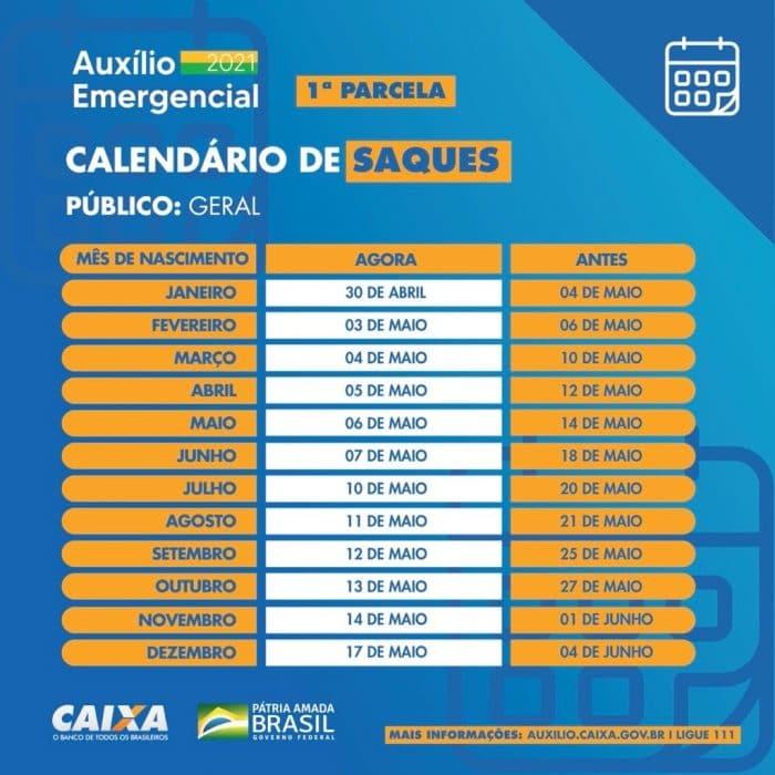 Novo calendário do auxílio emergencial. Créditos: Divulgação/Caixa