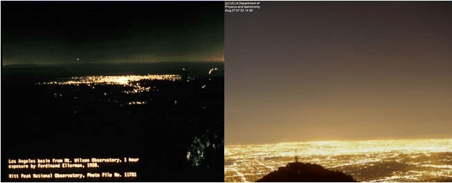 Light pollution from Los Angeles in 1908 (left) and 2017 (right). Credits: UCLA