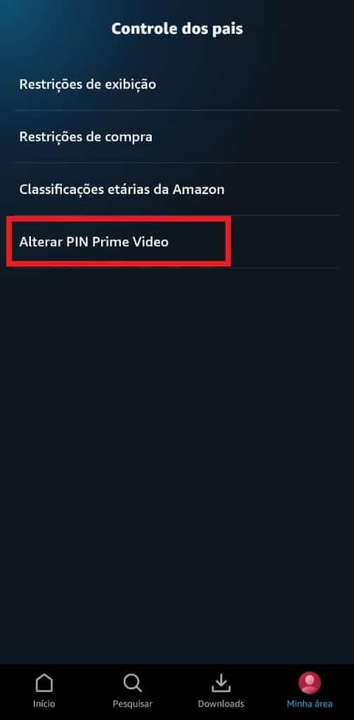 Print do aplicativo da Amazon Prime Video