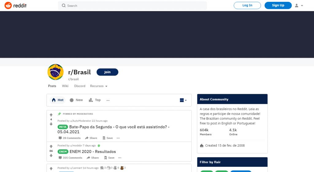 Página inicial do Reddit