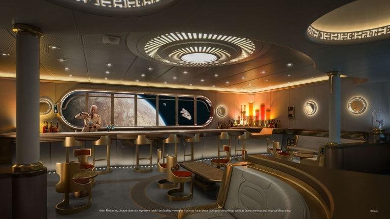 Star Wars Hyperspace Lounge, um luxuoso lounge para adultos, com direito a uma vista panorâmica da Galáxia. Imagem: Disney/Divulgação