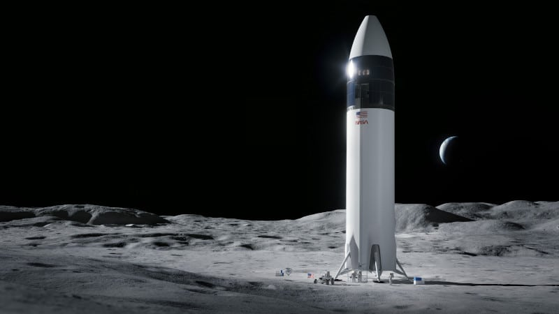 Starship, SpaceX spacecraft, on the Moon, with NASA painting