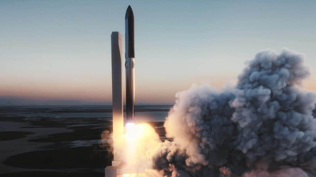 """Ilustração da SpaceX imaginando o lançamento de uma Starship """"completa"""" montada sobre um foguete Falcon Super Heavy."""