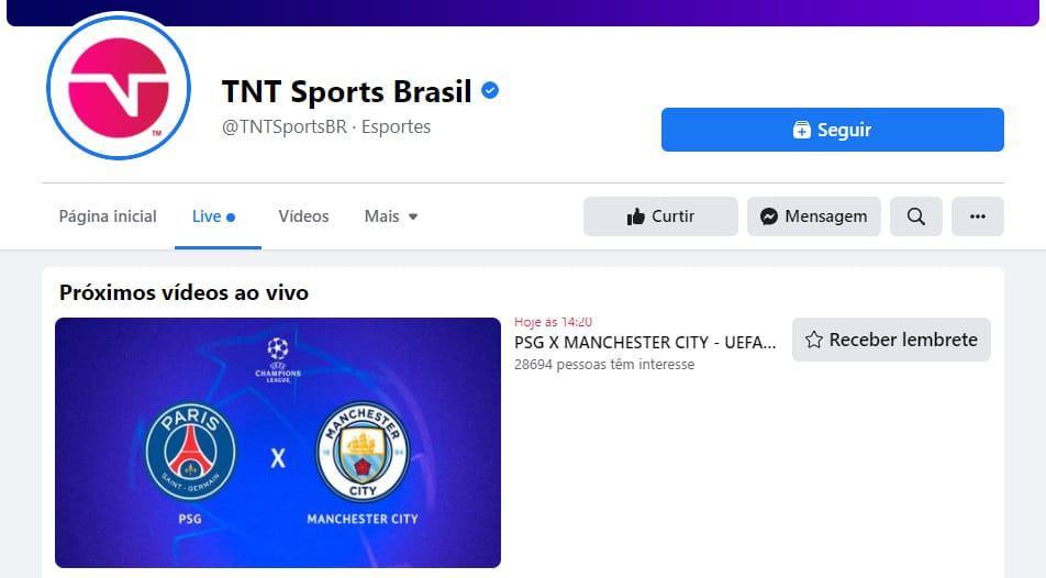 PSG x Manchester City: como assistir ao jogo da Uefa Champions League pelo Facebook. Créditos: Facebook TNT Sports Brasil