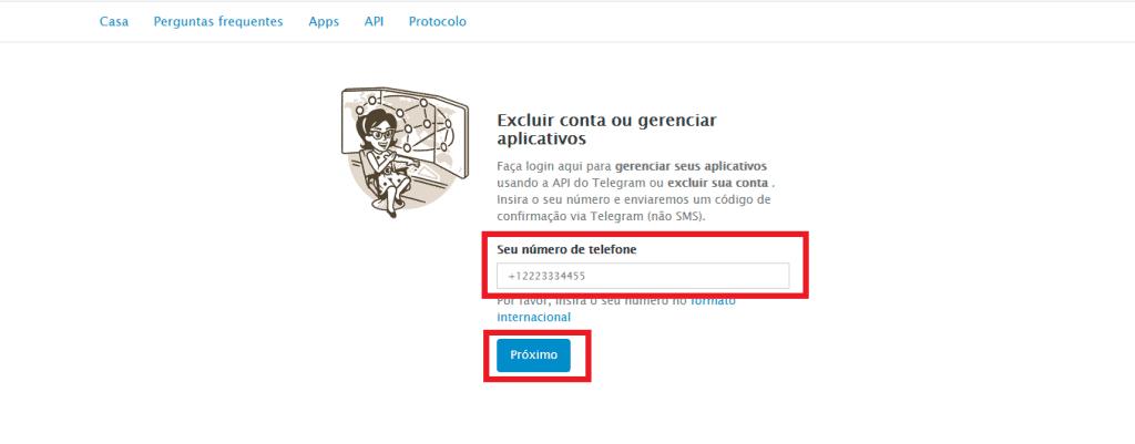 Print do site de exclusão de conta do Telegram