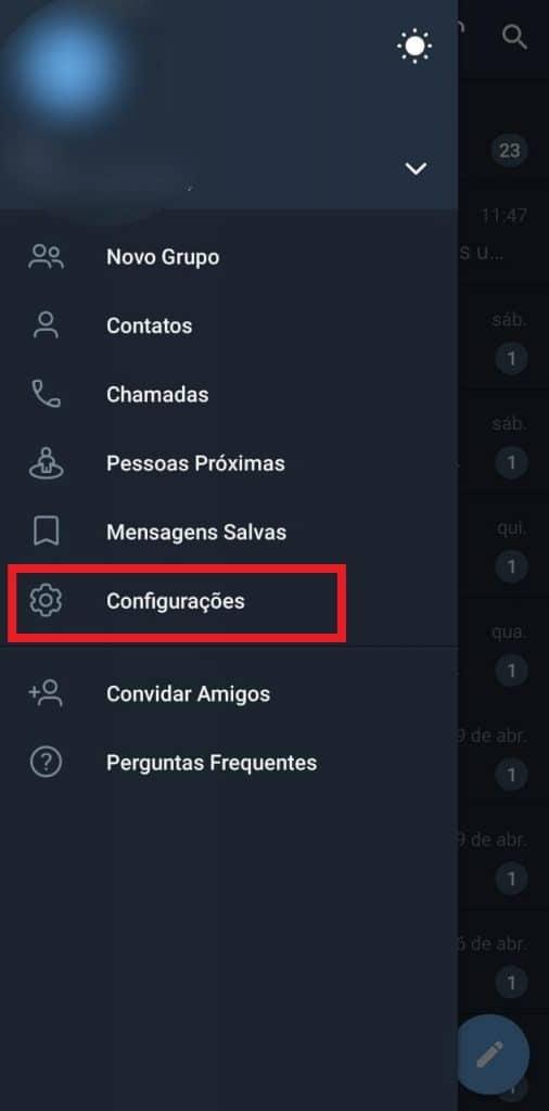 Print das configurações de conta do Telegram
