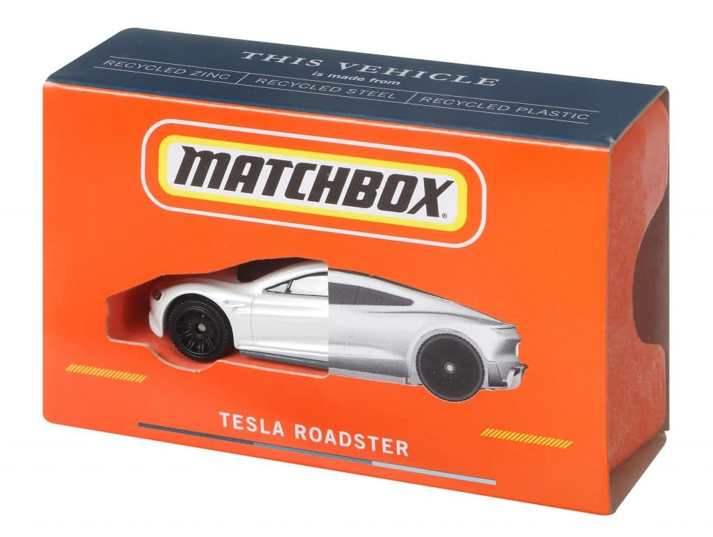 Tesla Roadster es el primer modelo en convertirse en un coche de juguete sostenible Matchbox. Imagen: Mattel / Divulgación