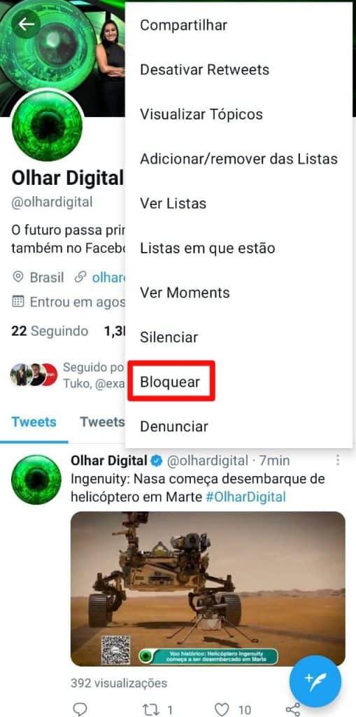 Print do aplicativo do Twitter