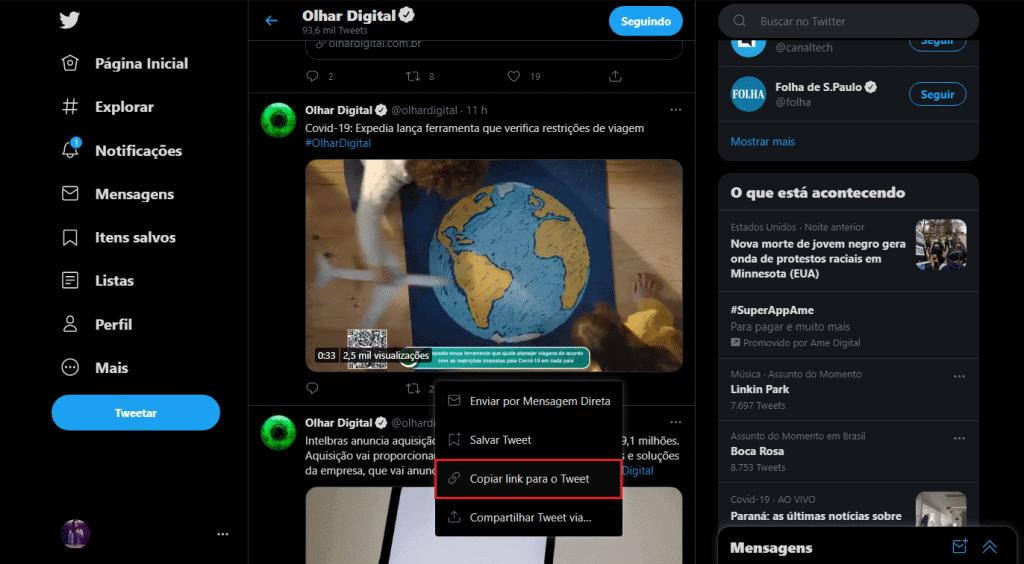 """Selecionando a opção """"Copiar link para o Tweet"""""""
