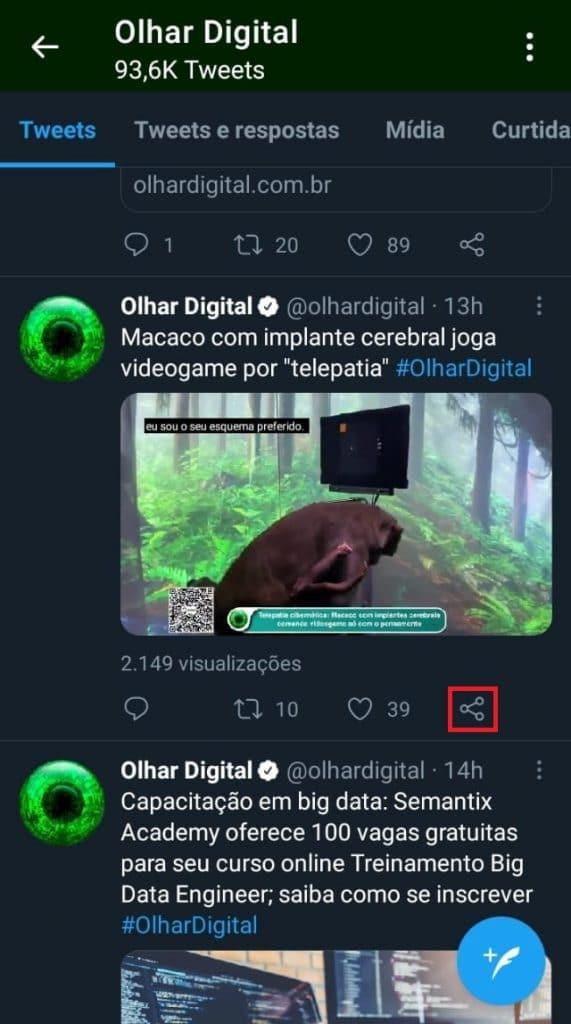 Ícone de compartilhamento de tuíte