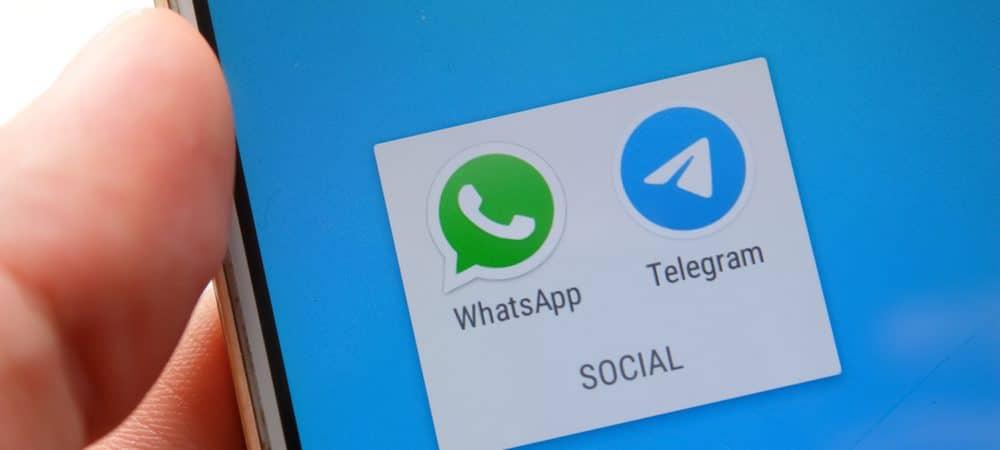 Logo of Telegram and WhatsApp apps