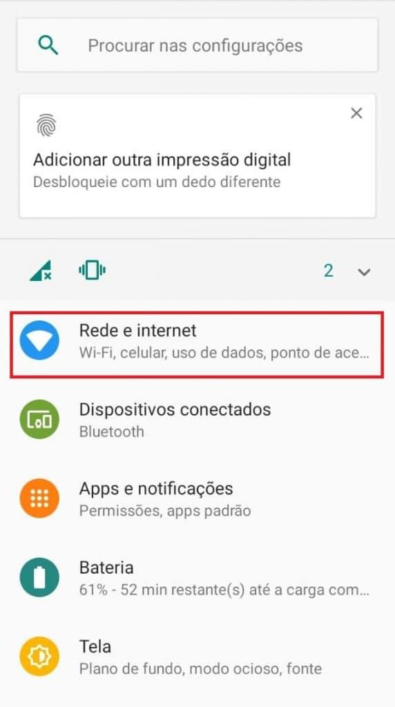 Configurações de rede Wi-Fi no Android