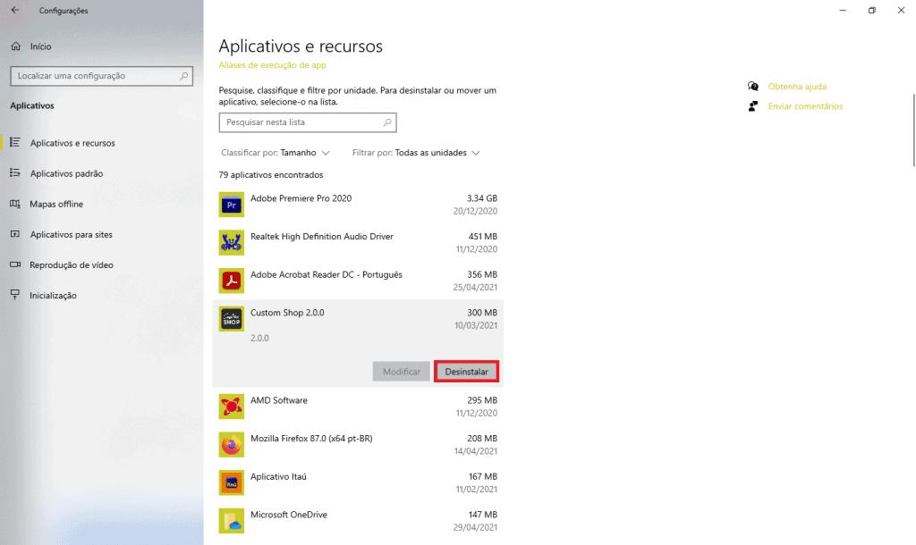 Aplicativos e recursos do Windows 10