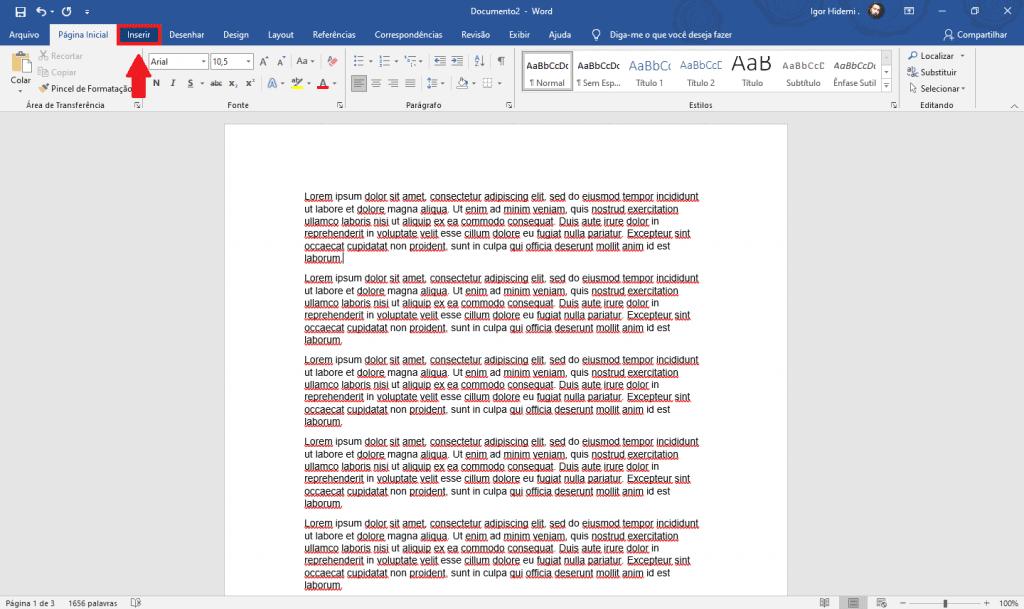 Processo para numerar páginas no Word