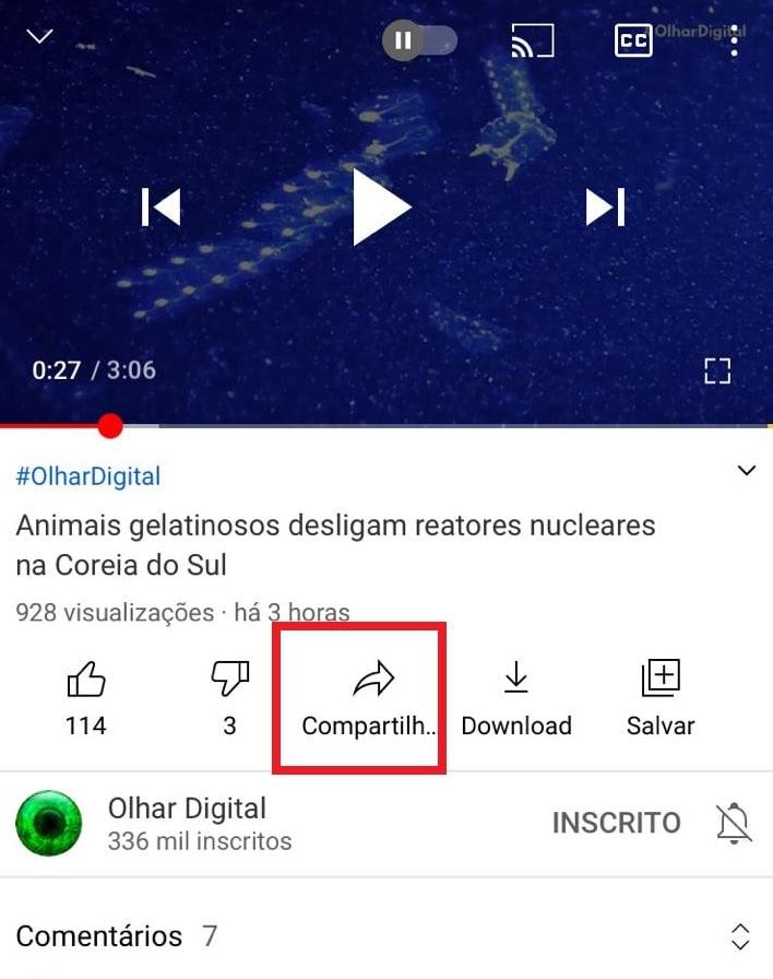 Como salvar vídeos do Youtube no app de Notas do iPhone. Imagem: Olhar Digital