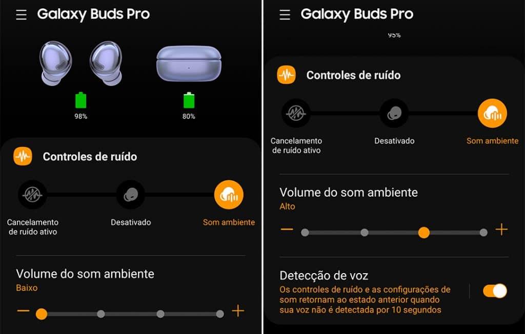Ajustes da função de som ambiente no app Galaxy Wearable.