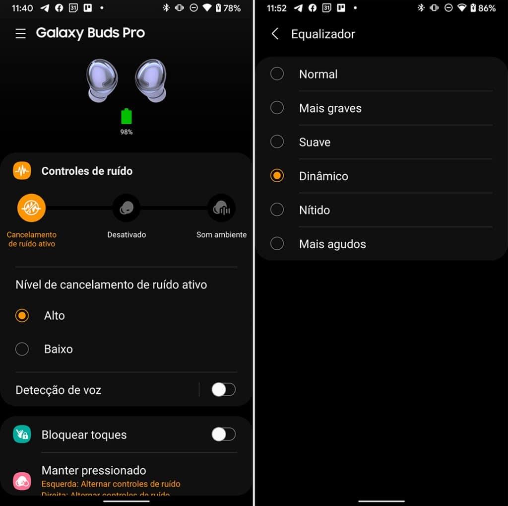 Configurações do Galaxy Buds Pro no app Galaxy Wearable para Android.