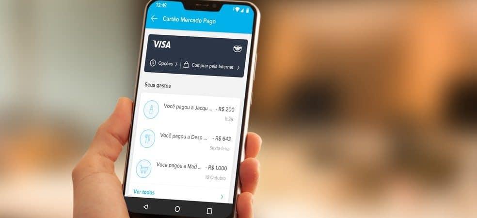 Aplicativo Mercado Pago aberto em um smartphone