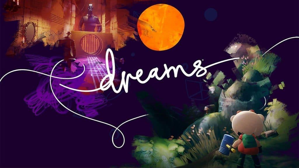 """Captura mostrando a logomarca do jogo/engine gráfica """"Dreams"""", para PlayStation 4"""