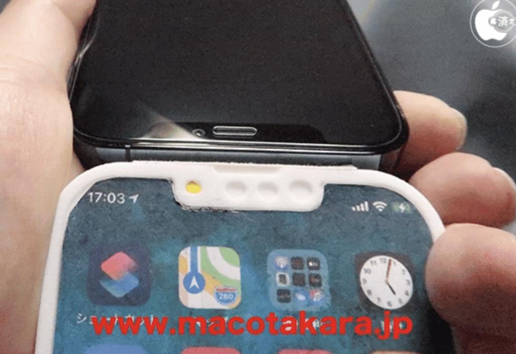 Simulação ficitícia do novo iPhone 13 criada por blog japonês. imagem: Macotakara