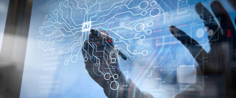 Ilustração mostra uma mão próxima a um chip de inteligência artificial