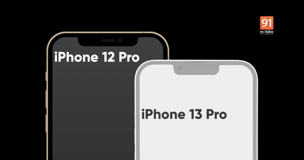 Imagem mostra comparação do notch sobre a tela do iPhone 13 Pro com o atual iPhone 12 Pro