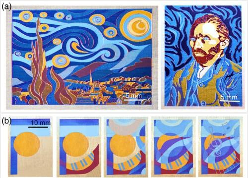 """Exempos de imagens produzidas com o pincel laser de Andreeva. Nas imagens de baixo, note como algumas partes amarelas foram """"apagadas"""" e pintadas com outros tons. Imagem: Yaroslava Andreeva"""