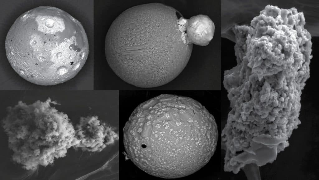 Some of the micrometeorites found by Jean Duprat and his team