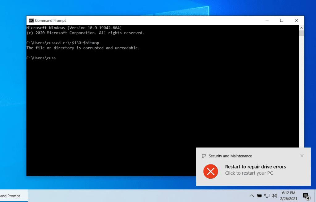 Imagem mostra o bug que corrompia drivers NTFS no Windows 10