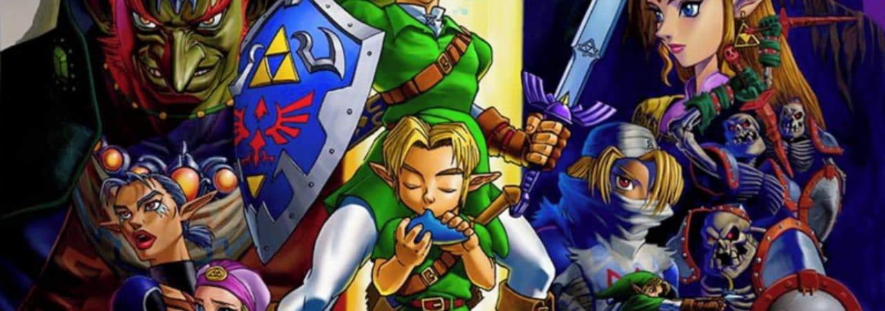 Pôster de The Legend of Zelda: Ocarina of Time, um dos maiores jogos da história da Nintendo