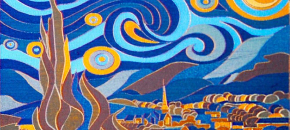 """Reprodução de obra de Van Gogh feita com o """"Pincel Laser"""" de Yaroslava Andreeva"""