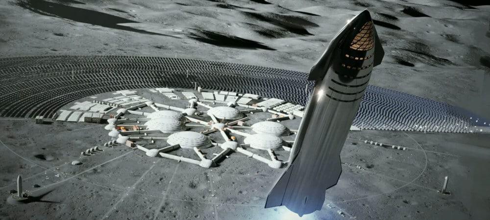 Ilustração de uma Starship, da SpaceX, se aproximando de uma base lunar