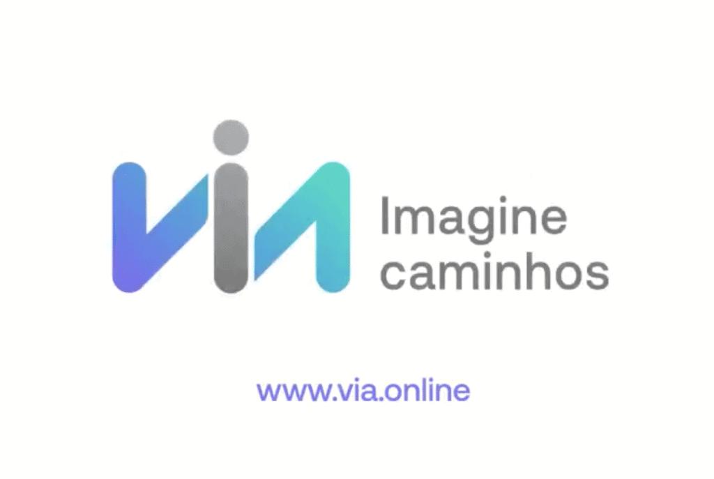 Imagem mostra o logotipo da empresa Via, nova marca da antiga Via Varejo.