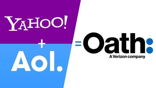 Montagem de logomarcas da Verizon posiciona de um lado Yahoo e AOL, e do outro, a Oath.