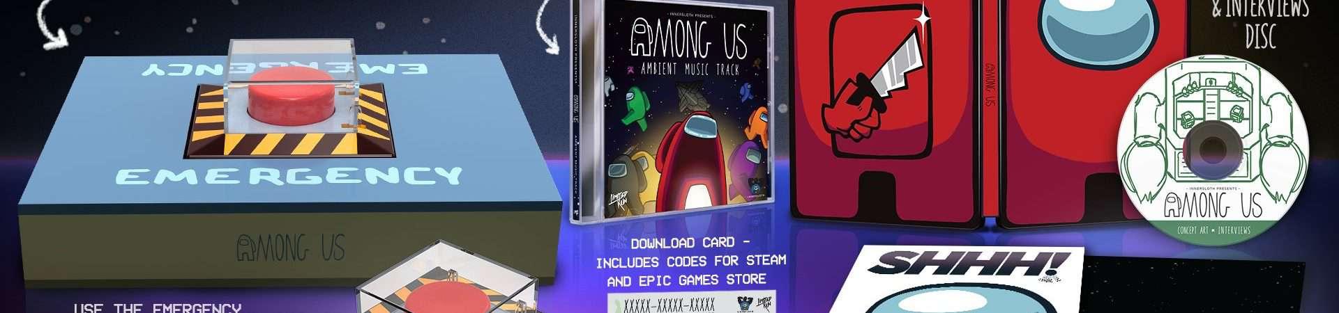 'Among Us' ganha edição de colecionador com botão real para reunião de emergência. Imagem: Limited Run Games/Reprodução