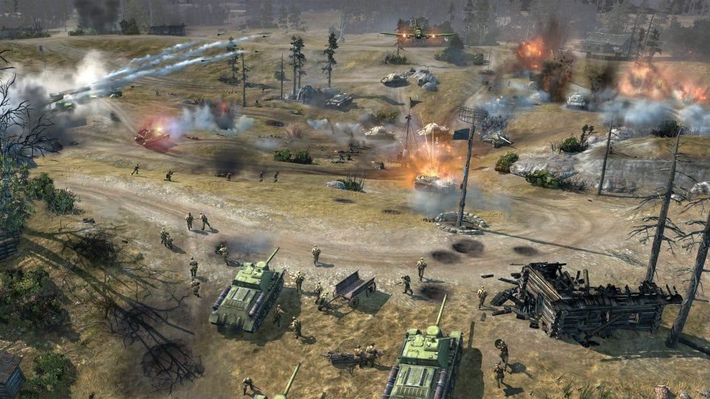 Campo de batalha de Company of Heroes 2 mostra cenário devastado pela guerra.