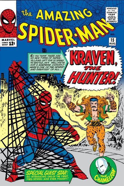 Capa da edição 15 de The Amazing Spider-Man, estreia de Kraven, o Caçador, traz o vilão atacando o Homem-Aranha
