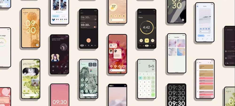 Um painel com vários aparelhos rodando o Android 12