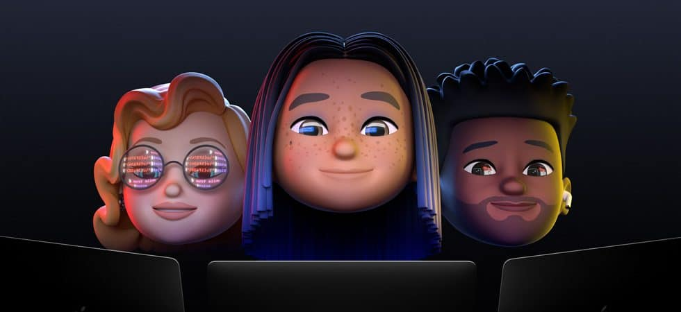 Apple banner shows three iPhone animojis looking at three laptops