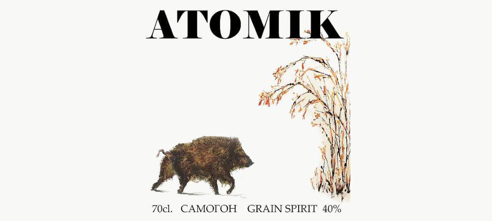 Ilustração na garrafa da Vodka Atomik