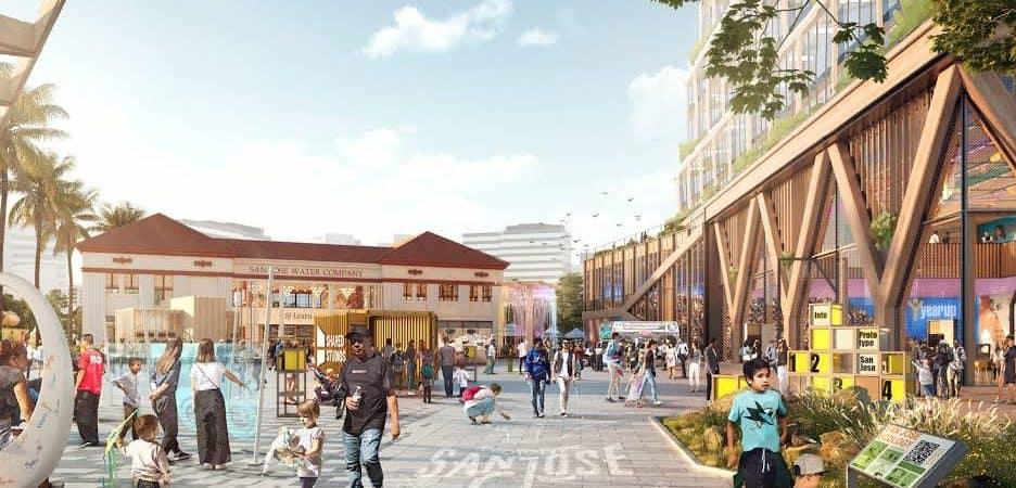 Renderização de futuro campus Downtown West, do Google
