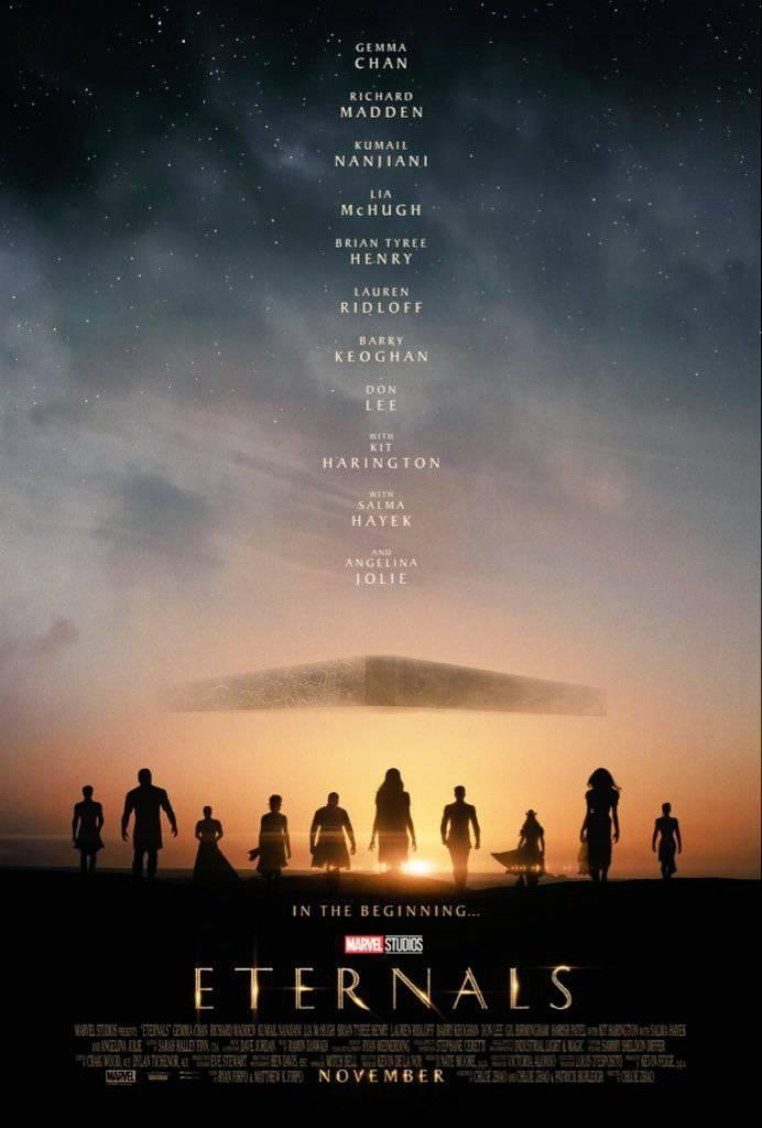Cartaz oficial de 'Os Eternos', filme do Marvel Studios dirigido pela vencedora do Oscar Chloé Zhao. Imagem: Divulgação