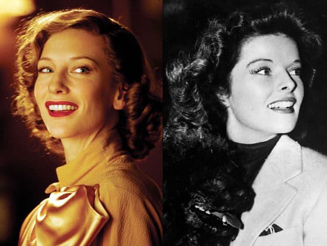 Uma comparação entre Cate Blanchett e Katharine Hepburn, papel interpretado por Blanchett em 'O Aviador', de Martin Scorsese. Créditos: Montagem