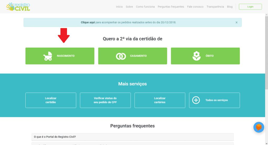 Página inicial do portal do Registro Civil