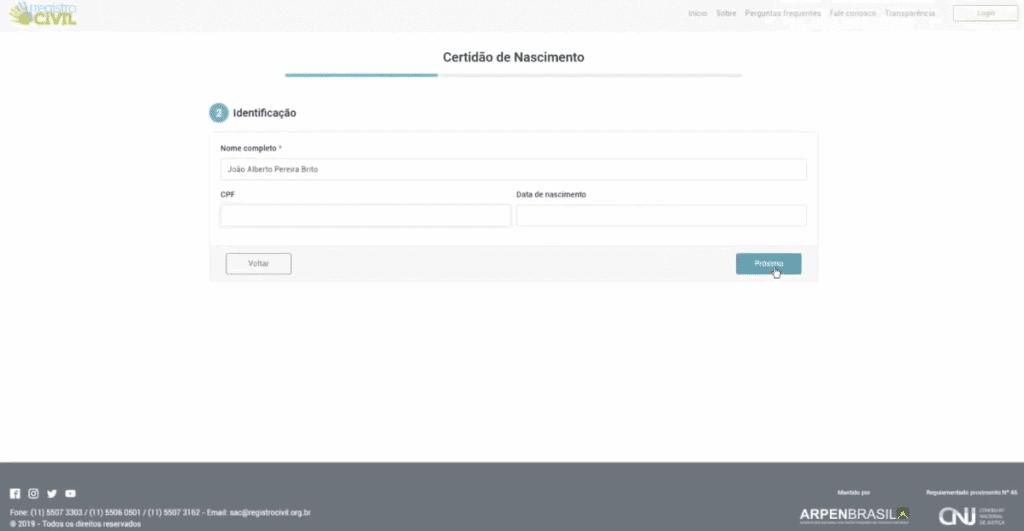 Inserindo os dados pessoais no site do portal do Registro Civil