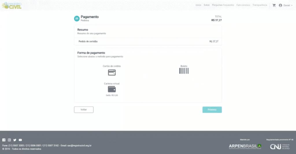 Escolhendo a forma de pagamento
