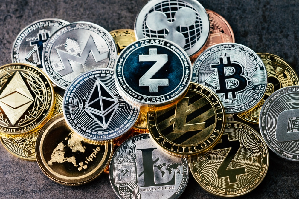 Illustration of various cryptocurrencies