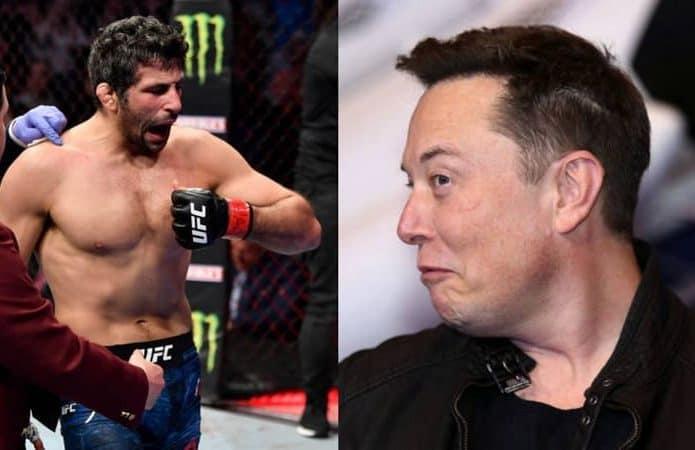 Elon Musk foi desafiado por lutador de UFC após atraso na entrega de Tesla. Imagem: Montagem/Twitter/Reprodução