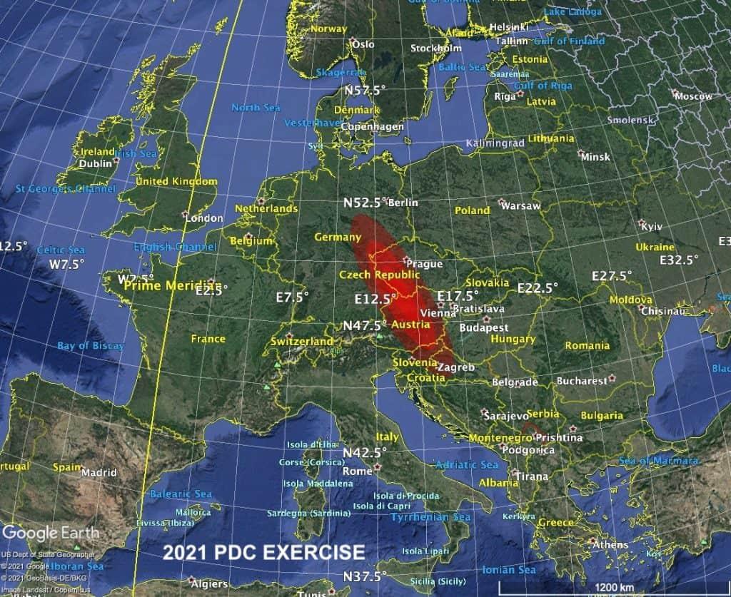 Região do hipotético impacto de 2021PDC. Imagem: CNEOS/Nasa