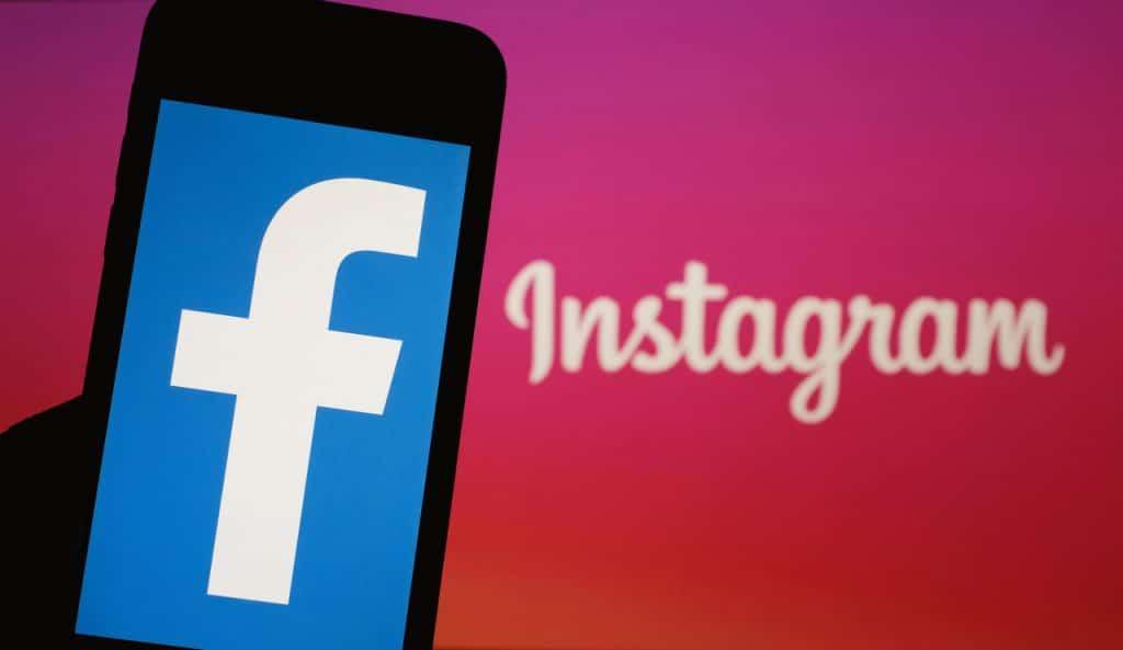 Ilustração de logos do Facebook e Instagram